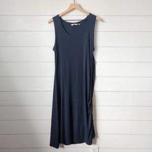 Athleta Navy Blue Side Gather Midi Dress L